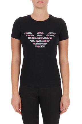 Emporio Armani Kadın Siyah Logo Baskılı Bisiklet Yaka Pamuklu T Shirt