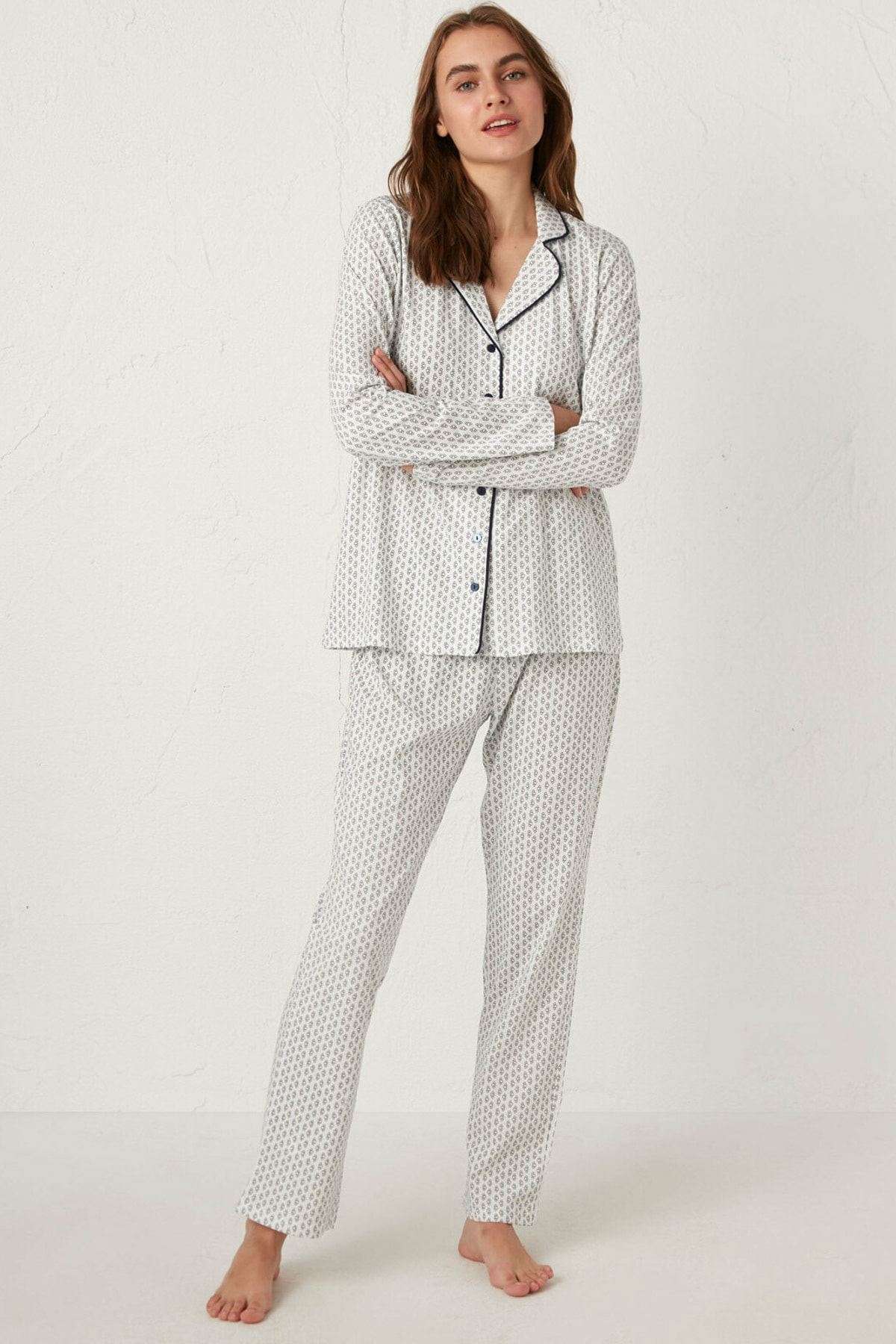 LC Waikiki Kadın Lacivert Pijama Takım 1
