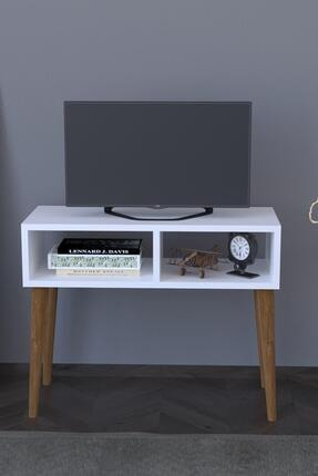 Remaks Beyaz Retro Tv Sehpası