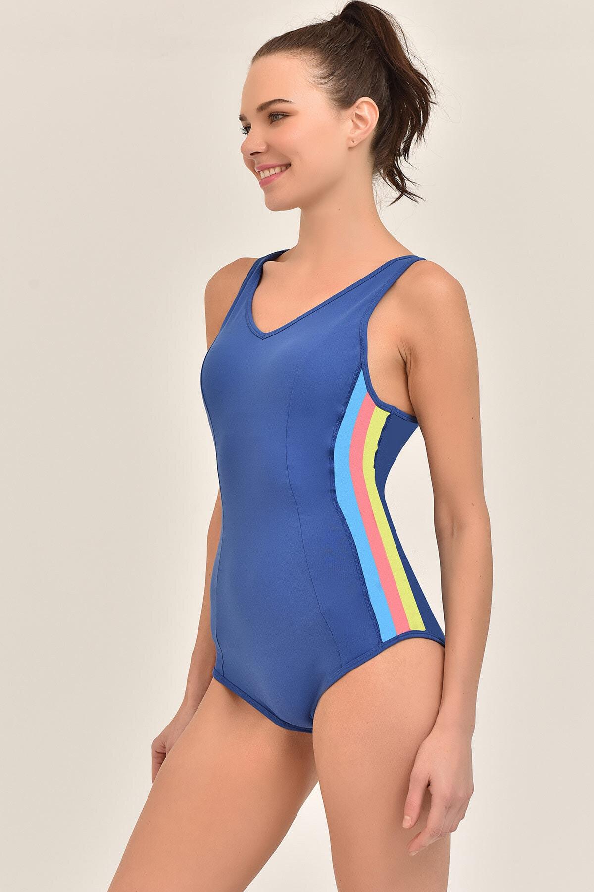 bilcee Mavi Kadın Alttan Çıt Çıtlı Spor Mayo GS-8061 1
