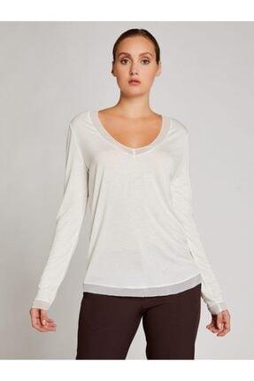 Vekem Kadın Kırık Beyaz Şifon Detaylı Yünlü Basic Bluz
