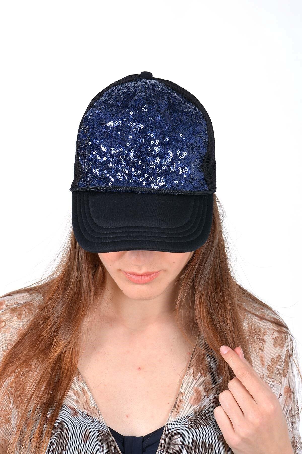 Mossta Kadın Lacivert Payetli Şapka 1