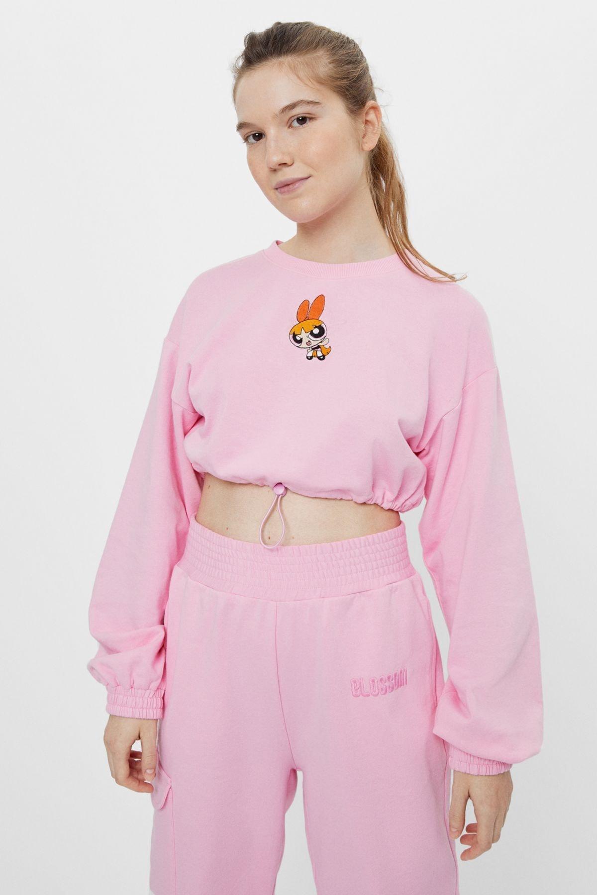 Bershka Kadın Pembe Powerpuff Girls Baskılı Crop Fit Sweatshirt 1
