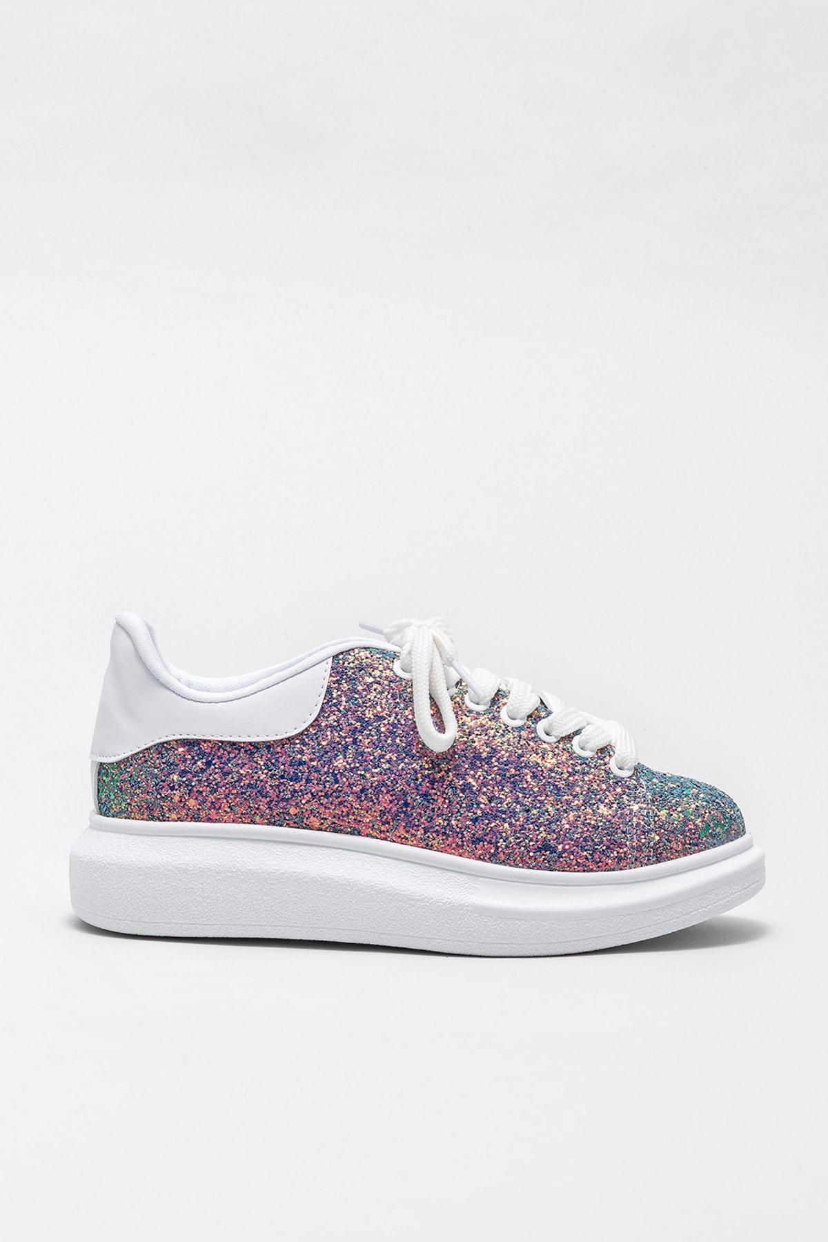 Elle Shoes ZANDA-2 Yesıl Gliter Kadın Casual Ayakkabı 1