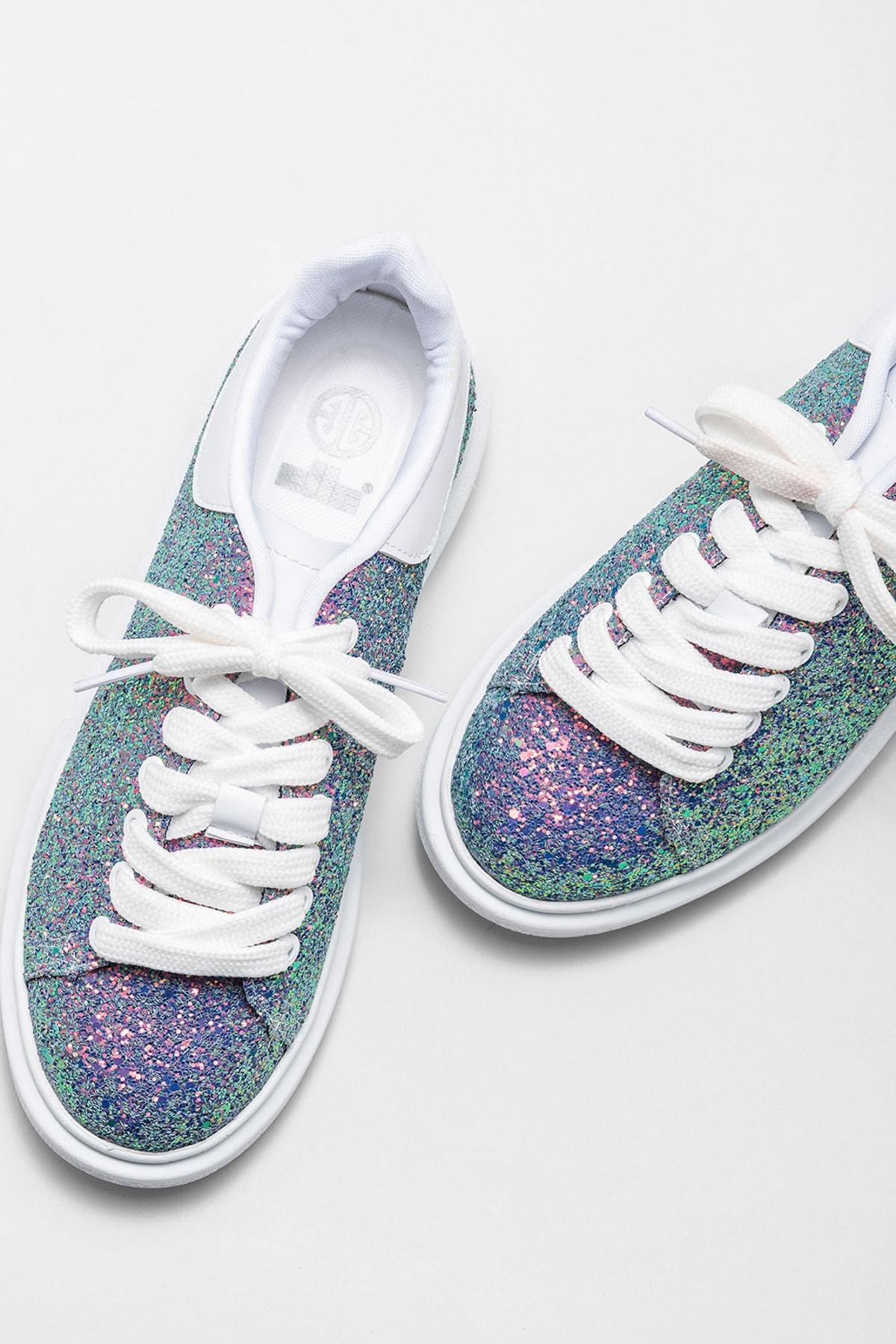 Elle Shoes ZANDA-2 Yesıl Gliter Kadın Casual Ayakkabı 2