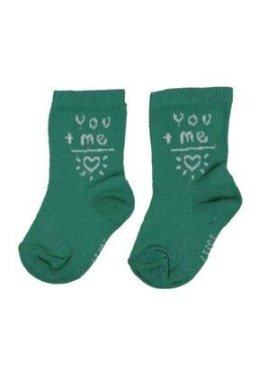 Simisso Kalp Desenli Bebek Soket Çorap | Yeşil