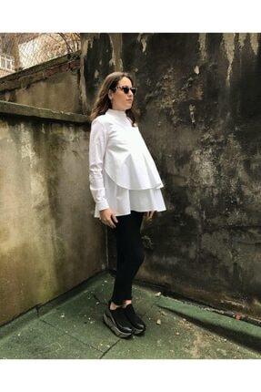 Enna Kadın Beyaz Pieca Hamile Gömlek