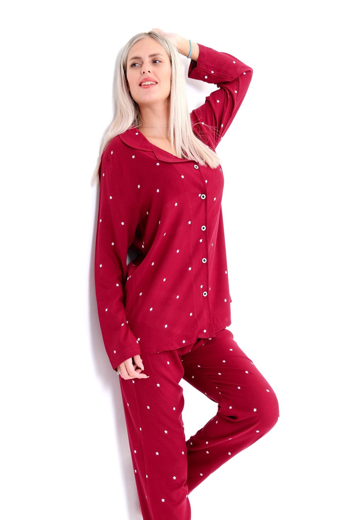 Pijama Denizi Dört Mevsimlik Uzun Kollu Düğmeli Gömlek Yaka Pijama Takımı Bordo Yıldız Dokuma 2