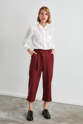 TRENDYOLMİLLA Bordo Bağlama Detaylı Pantolon TWOAW21PL0515
