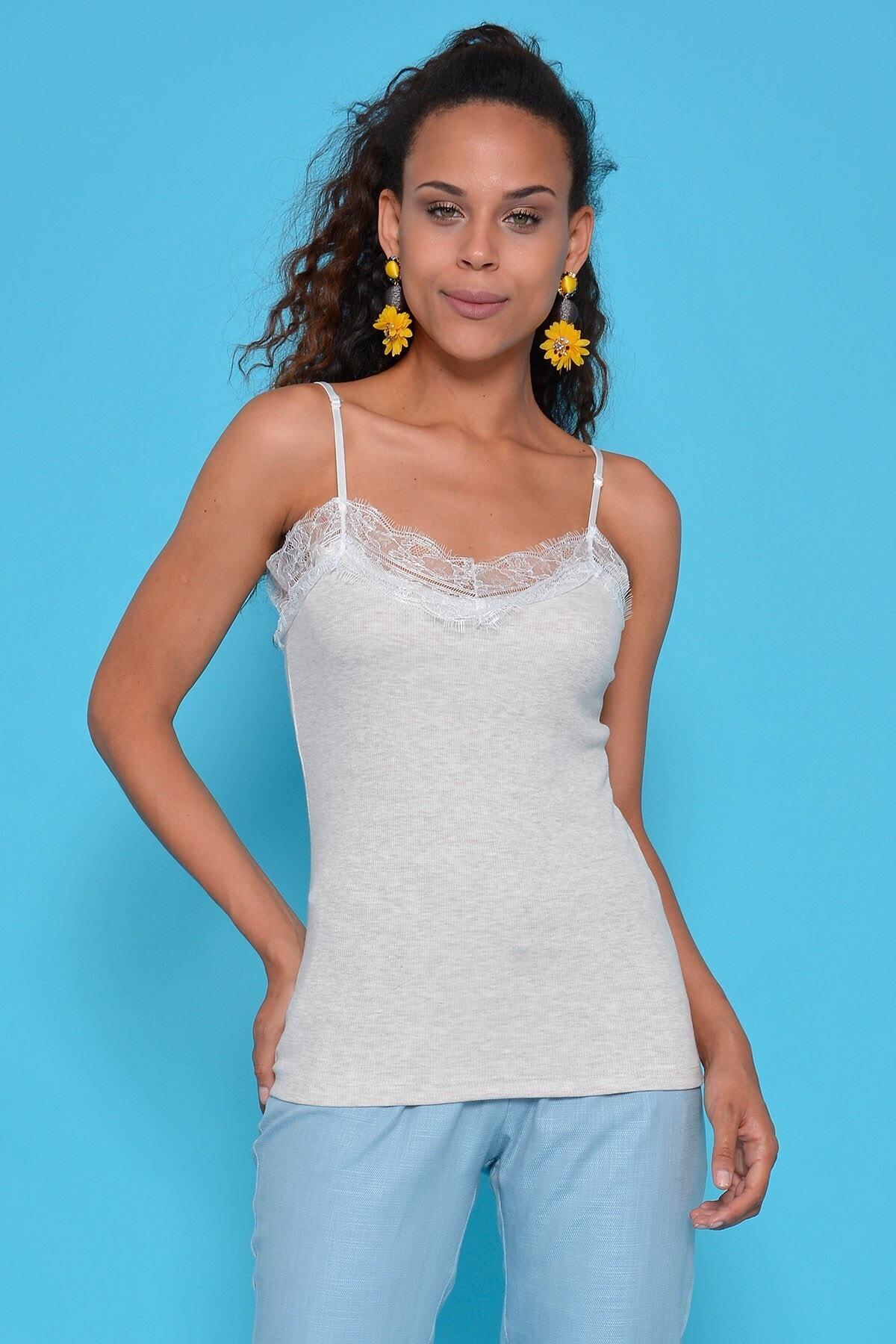 Mossta Kadın Bej Ip Askı Bluz 1