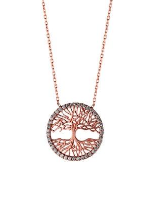Afrodit Silver Kadın Rose Tuba Ağacı Tasarım Gümüş Kolye