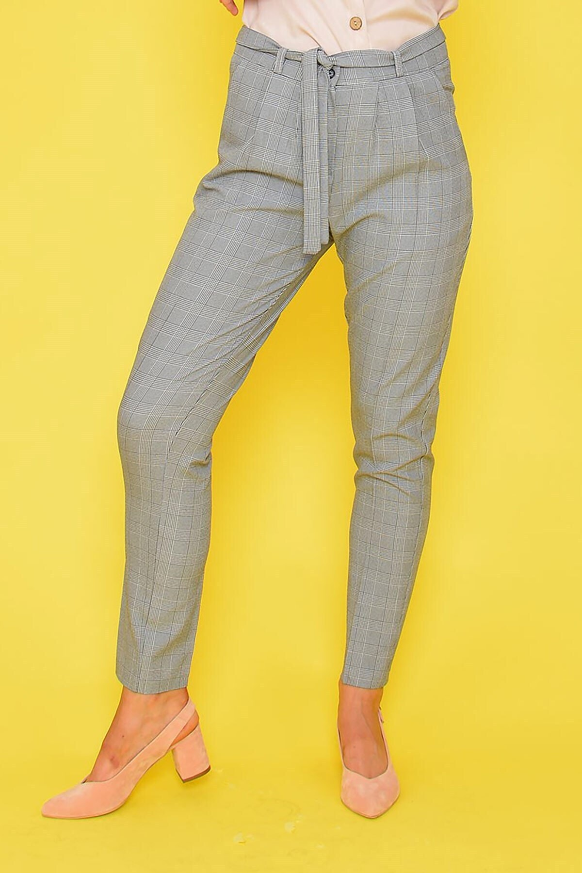 Mossta Kadın Bej Ekose Havuç Pantolon 1