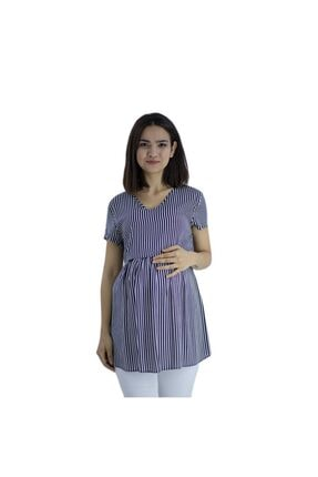 TRENDY Kadın Siyah Çizgili Hamile Bluz