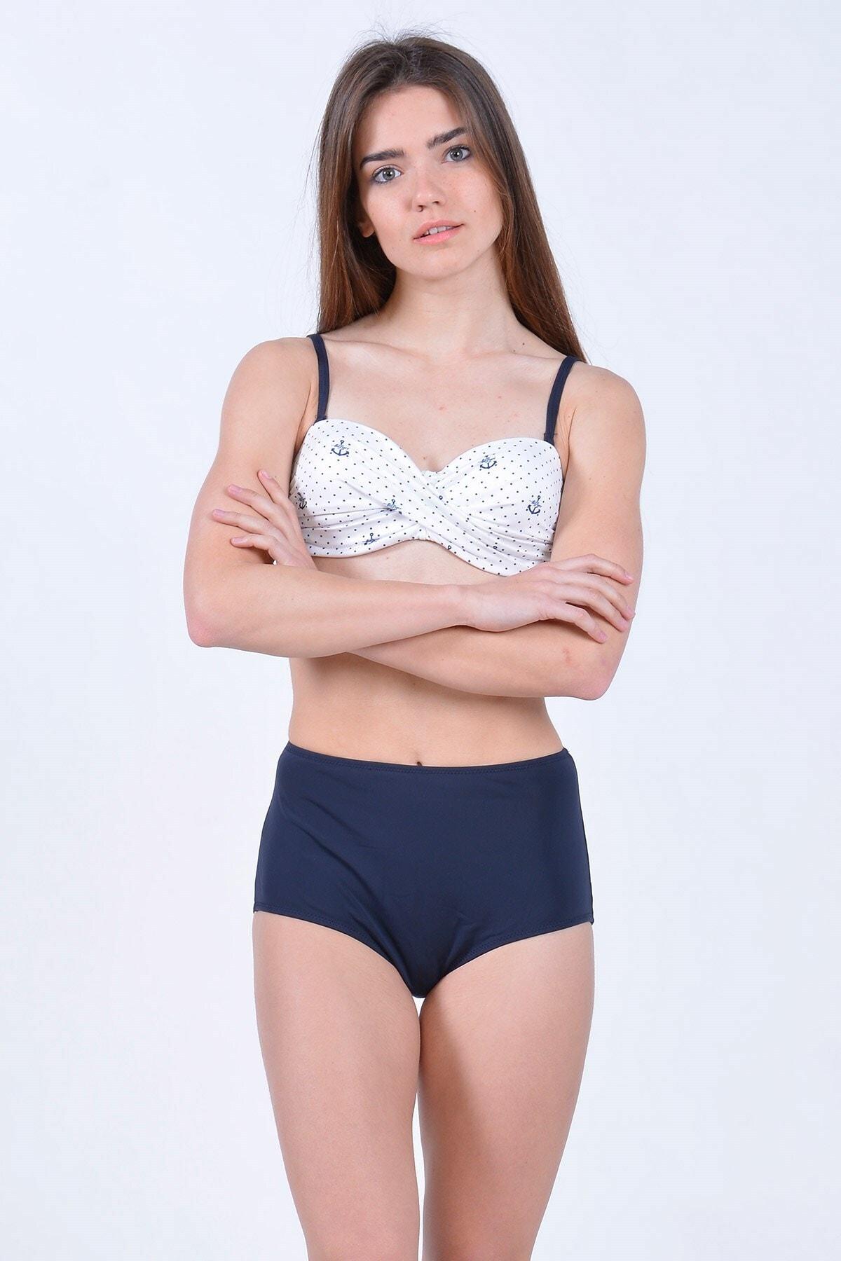 Mossta Kadın Lacivert Full Lycra Yüksek Bel Bikini 1