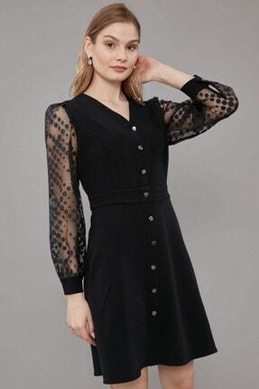 Journey Elbise V Yaka- Ön Tüm Düğmeli, Kollar Desenli Kombinli, Uzun Kol