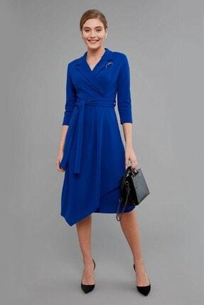 Journey Kadın Lacivert Klasik Yaka- Yaka Ucu Broş Detaylı, Ön Anvelop Volanlı Elbise