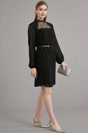 Journey Kadın Siyah Dantel Şerit Kombinli Dik Yaka, Ön Roba Dantel Ve Bel Üstü Deri Kemer Detaylı Elbise