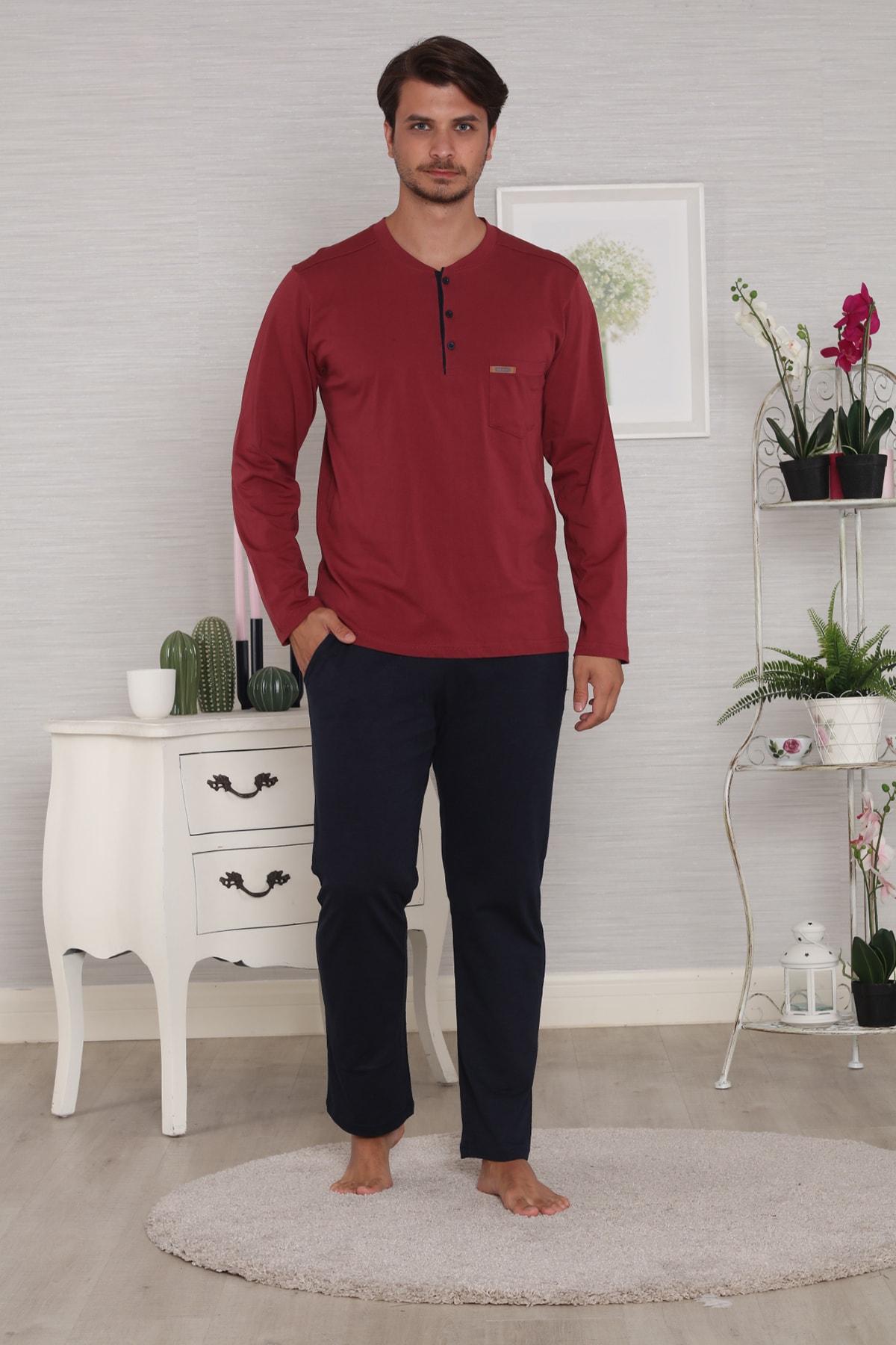 Pelin  Erkek Bordo Uzun Kollu 4 Mevsim Pijama Takımı 1