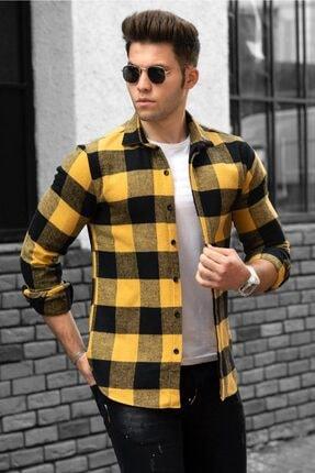 Madmext Erkek Ekoseli Sarı Gömlek 4664