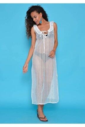Mossta Kadın Beyaz Dantel Elbise Pareo We34230