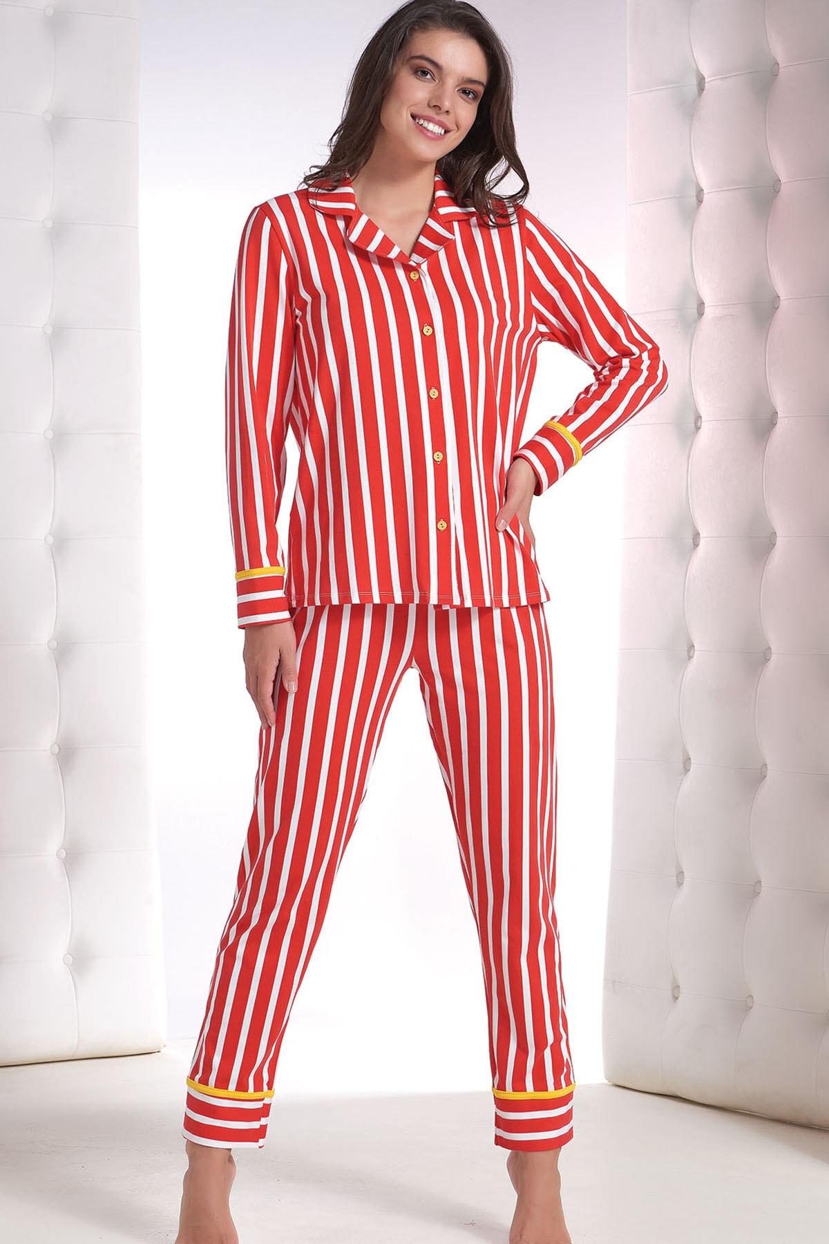 ZEY Kadın Kırmızı Baskılı Pijama Takım 1