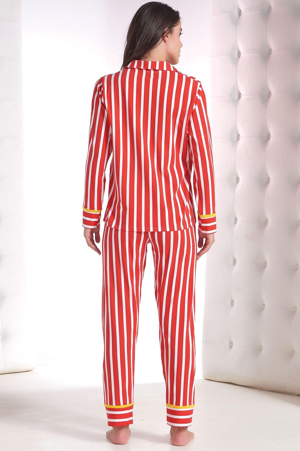 ZEY Kadın Kırmızı Baskılı Pijama Takım 2