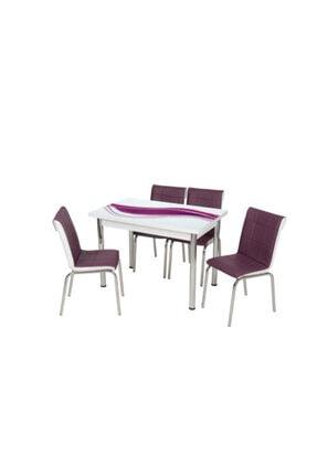 messline 4 Sandalyeli Açılabilir Cam Mutfak Masa Takımı