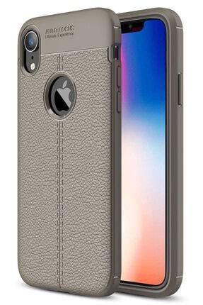 Apple Iphone Xr Kılıf Deri Görünüm Sert Karbon Kapak