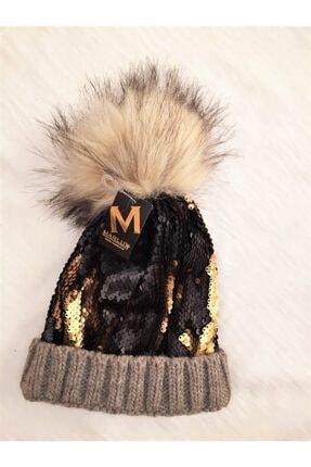 Marlux Krem Ponponlu Siyah Kahverengi Altın Sarısı Pullu Bere