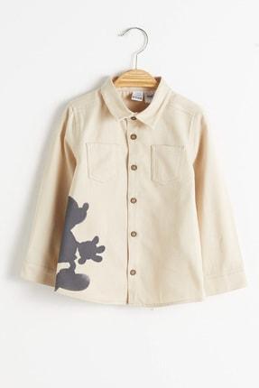 LC Waikiki Mickey Mouse Erkek Çocuk Bej R6C Gömlek