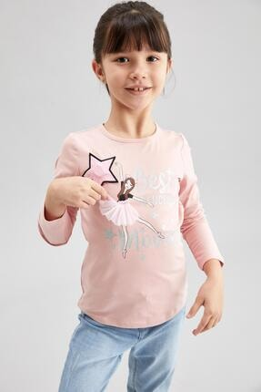 DeFacto Kız Çocuk Pembe Baskılı Işıklı Bluz