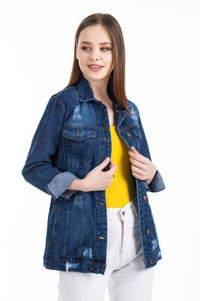 Mossta Kadın Mavi Boyfriend Kot Ceket