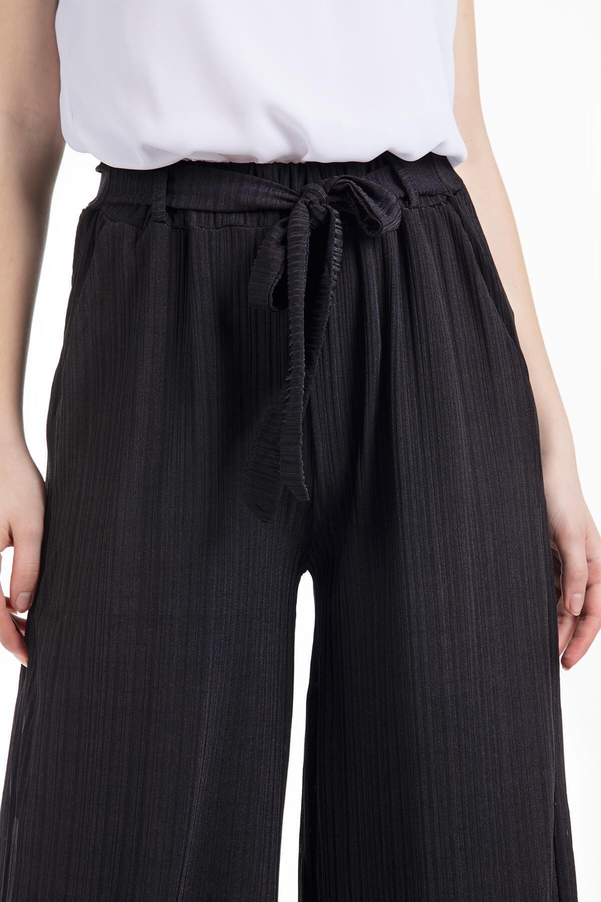 Mossta Kadın Siyah Likralı Kaşkorse Salaş Pantolon 2