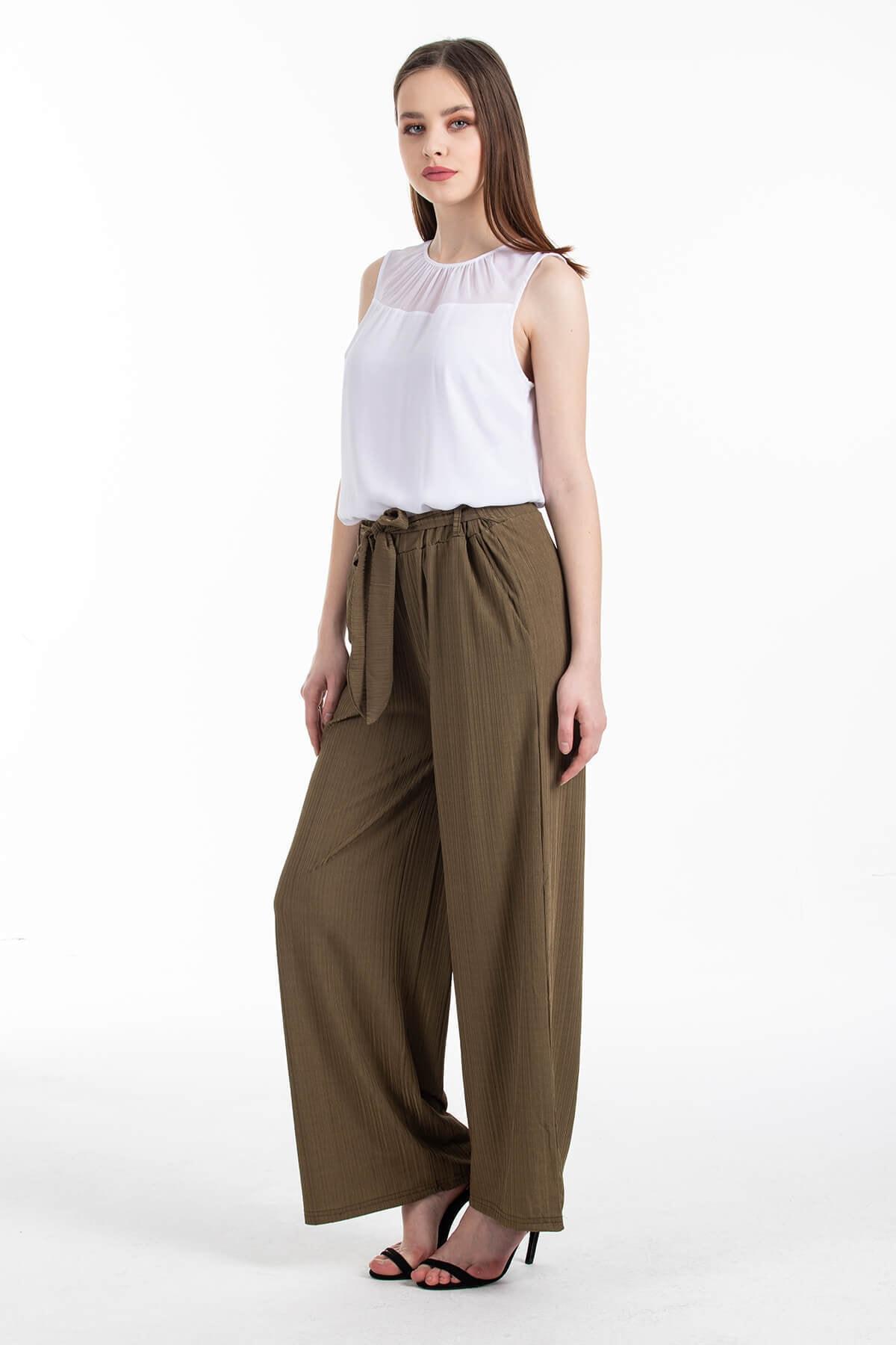 Mossta Kadın Haki Likralı Kaşkorse Salaş Pantolon 1
