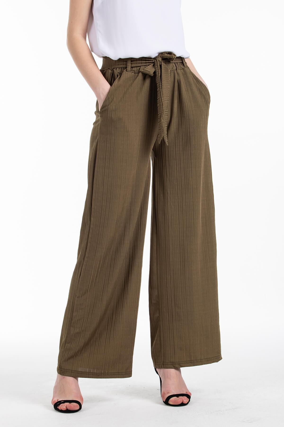 Mossta Kadın Haki Likralı Kaşkorse Salaş Pantolon 2