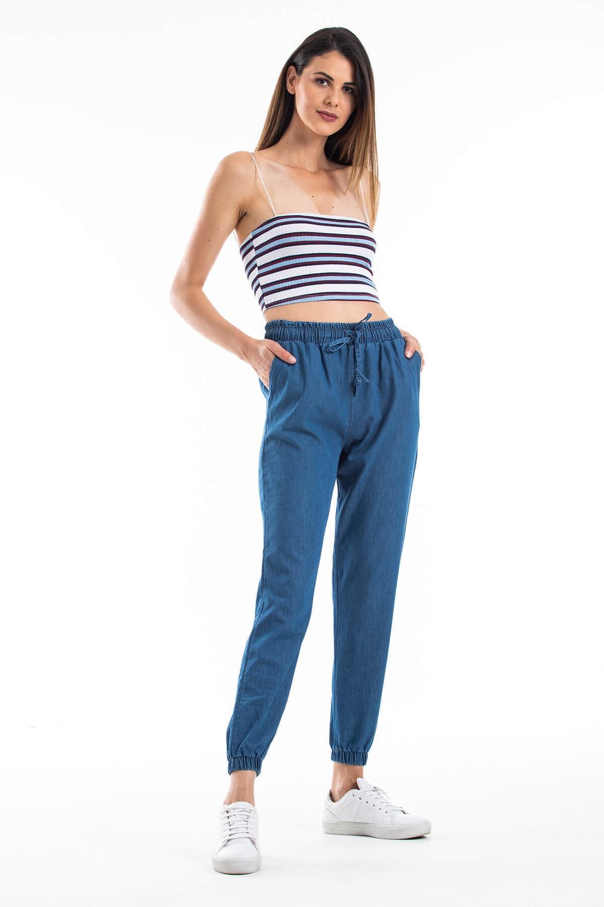 Mossta Kadın Lacivert Bel ve Paça Lastikli Pantolon 1