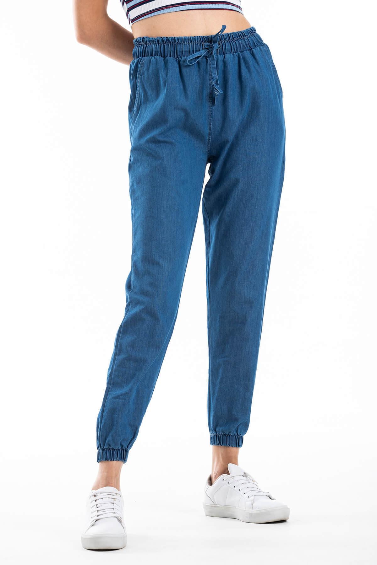 Mossta Kadın Lacivert Bel ve Paça Lastikli Pantolon 2