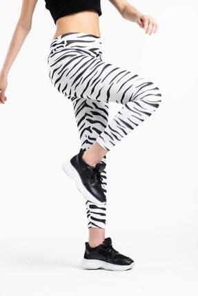 Mossta Kadın Beyaz Zebra Desen Yüksek Bel  Sporcu Tayt
