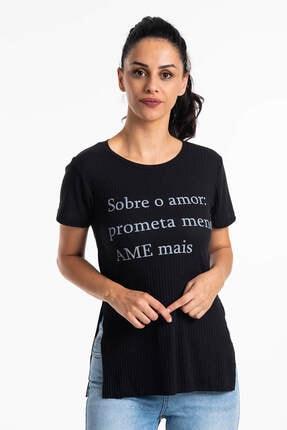Mossta Kadın Siyah Yırtmaçlı Kaşkorse T-shirt