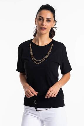 Mossta Kadın Siyah Kısa Kol Zincirli T-shirt