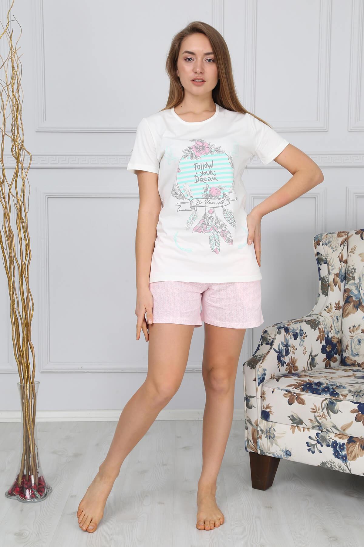 Mossta Kadın Ekru Kısa Kol Şortlu Pijama Takımı 2