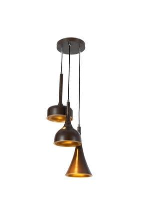 Bahar Metal 3'lü Sarkıt Kahve - Gold 6125