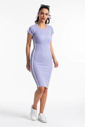 Mossta Kadın Lila Kısa Kol Kaşkorse Elbise