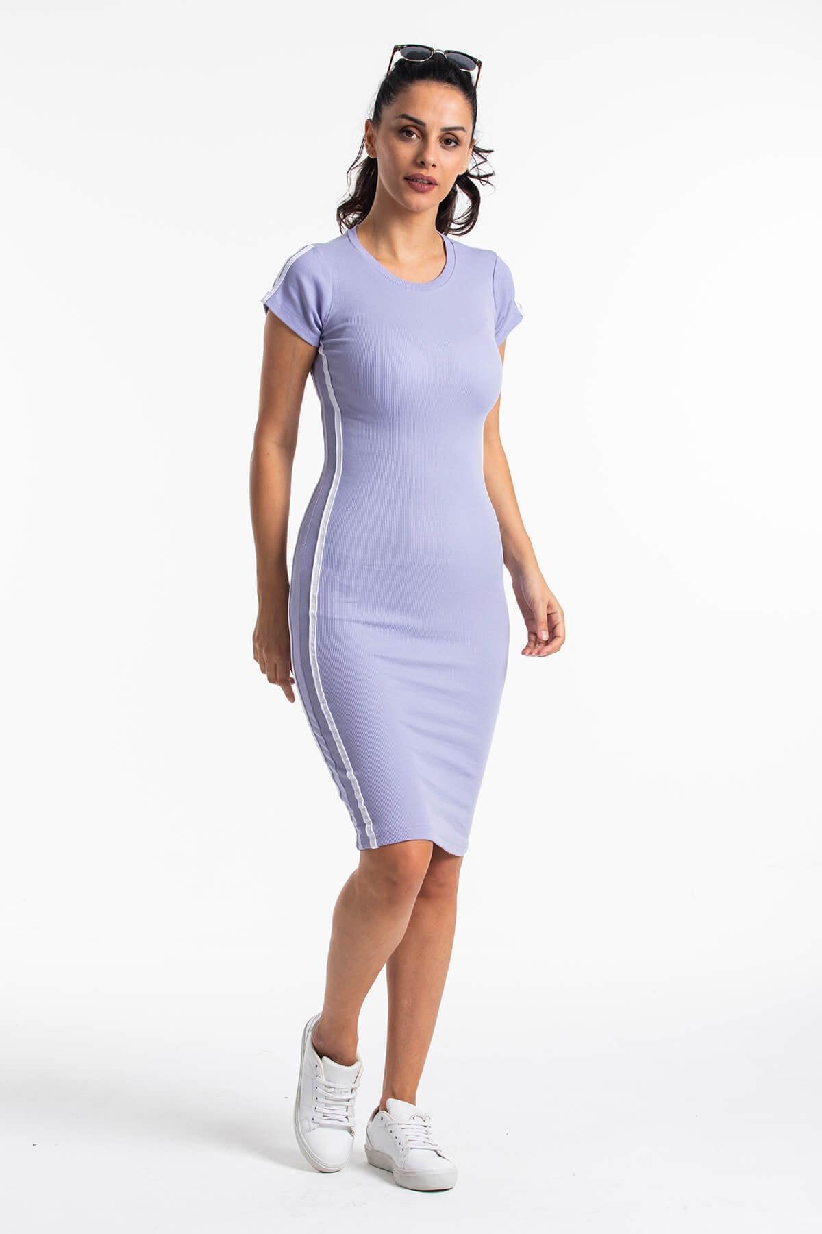 Mossta Kadın Lila Kısa Kol Kaşkorse Elbise 1