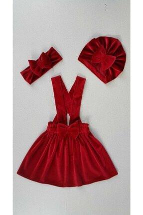 Yumurcak Kız Çocuk Kırmızı Kadife Elbise