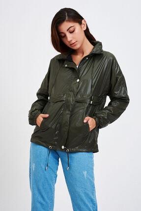 Mossta Kadın Haki Kapüşonlu Rüzgarlık Ceket