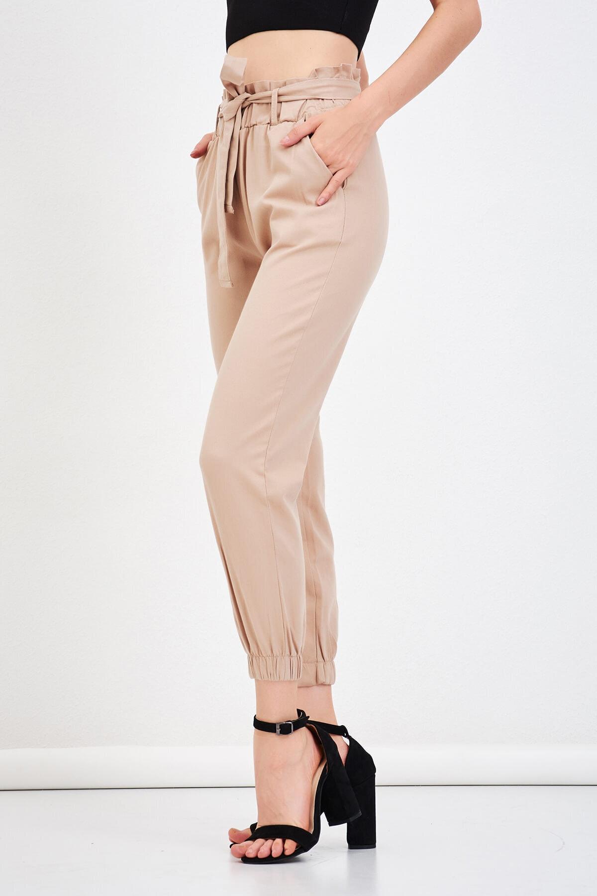 Mossta Kadın Vizon Bel Lastikli Gabardin Pantolon 1