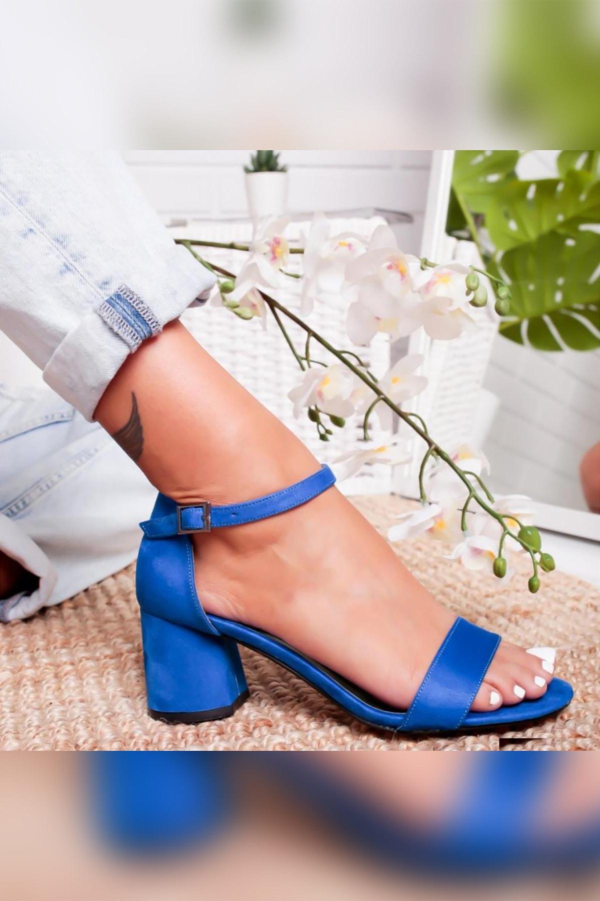 Limoya Averi Sax Süet 6cm Topuklu Tek Bantlı Sandalet 2