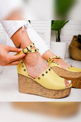 Limoya Phoebe Limon Süet Zımbalı Dolgu Topuklu Ayakkabı
