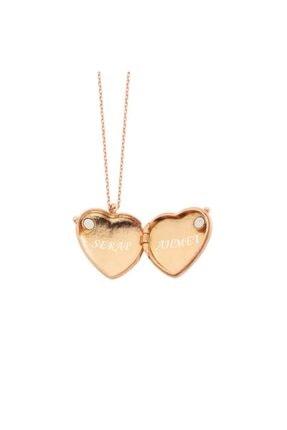 Harem Altın Isimli Kapaklı Kalpli Gümüş Kolye - Gms1617